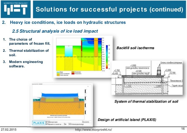 МОРСТРОЙТЕХНОЛОГИЯ http://www.morproekt.ru/ 1627.02.2015 2.5 Structural analysis of ice load impact 1. The choice of param...