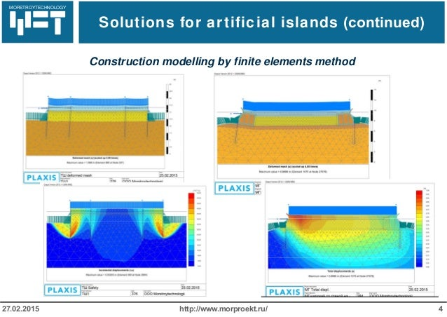 МОРСТРОЙТЕХНОЛОГИЯ Solutions for artificial islands (continued) http://www.morproekt.ru/ 427.02.2015 Construction modellin...
