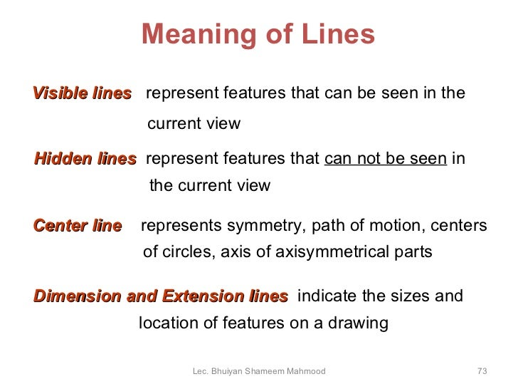 Drawing Lines Meaning : Engineering drawing