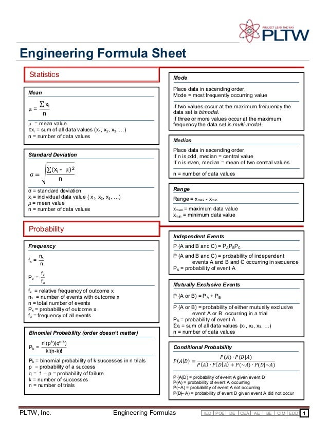 Engineering Formula Sheet Statistics  Mode  Mean  Place data in ascending order. Mode = most frequently occurring value  ∑...