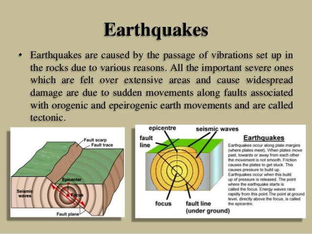 Earthquakes • Earthquakes are caused by the passage of vibrations set up in the rocks due to various reasons. All the impo...