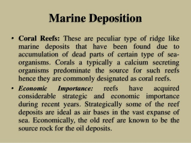 Marine Deposition • Coral Reefs: These are peculiar type of ridge like marine deposits that have been found due to accumul...