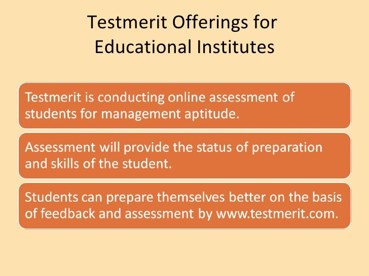 Testmerit Offerings for  Educational Institutes