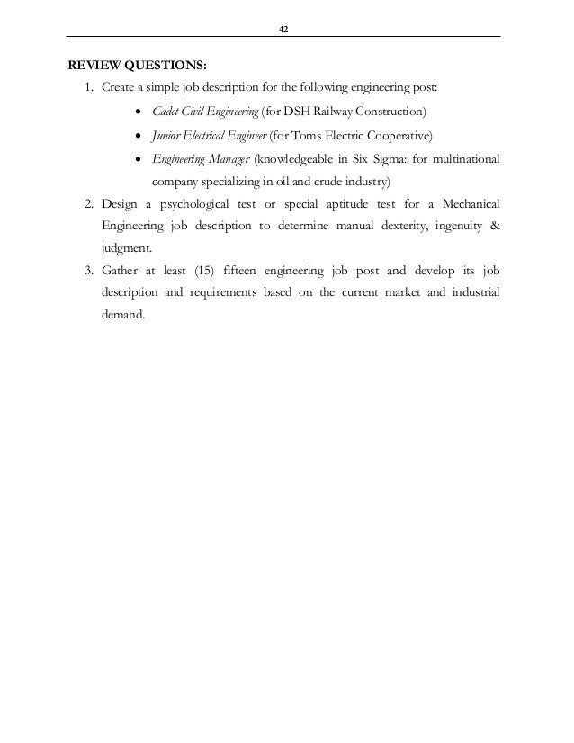 Engineering Job Analysis Description  Specification I