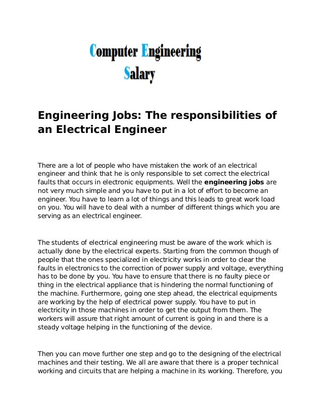 engineering jobs the responsibilities of an electrical engineer there are a lot of people who