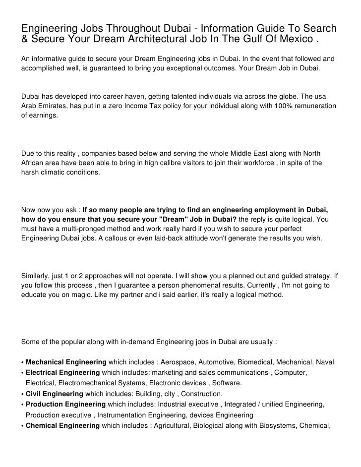 Engineering Jobs Throughout Dubai - Information Guide To
