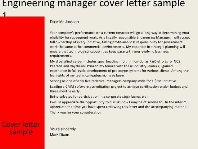 Engineering Manager Cover Letter .