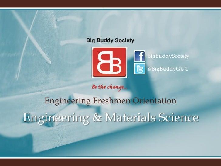 BigBuddySociety                           @BigBuddyGUC   Engineering Freshmen OrientationEngineering & Materials Science