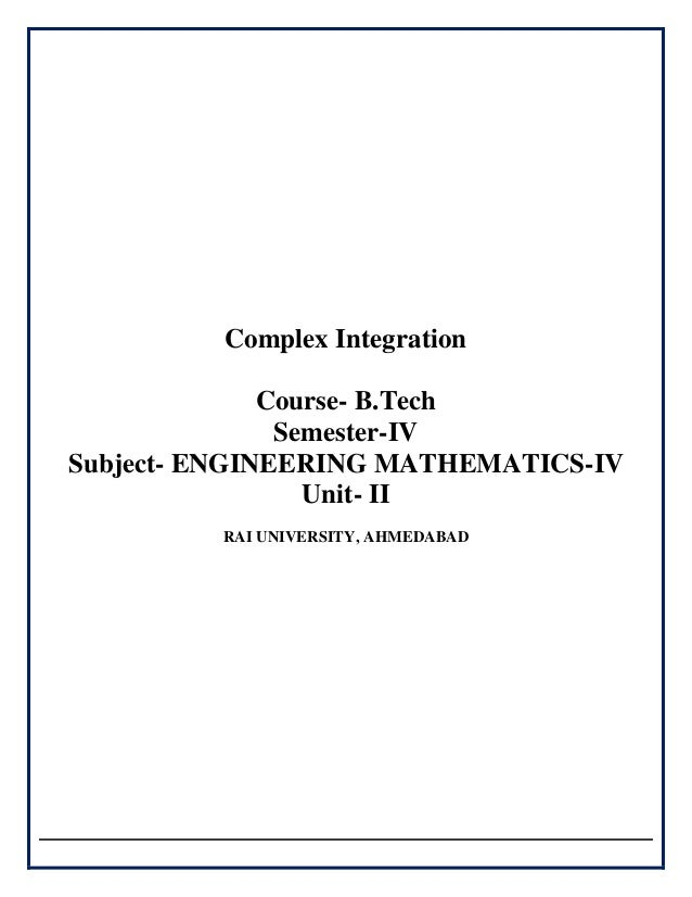 application of complex integration in engineering