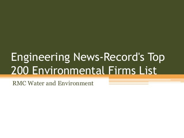 Engineering News-Record's Top 200 Environmental Firms List RMC Water and Environment