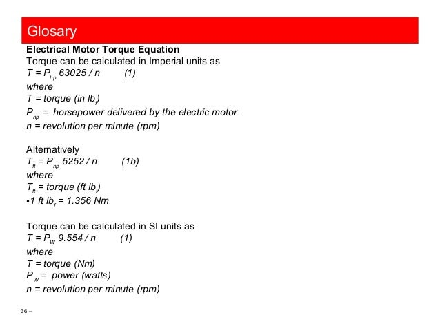 Engineering plant facilities 01 concepts formulas and uom for Electric motor torque calculator