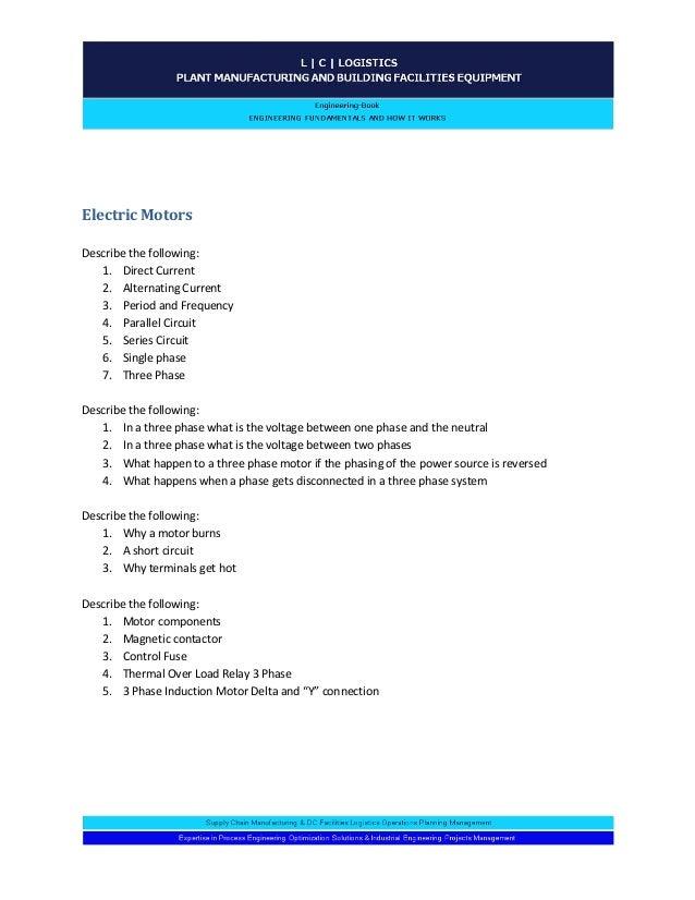 Engineering Plant Facilities 14 Fundamental Questions Worksheet