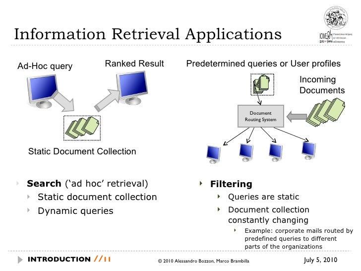 Information Retrieval Applications <ul><li>Search  ('ad hoc' retrieval) </li></ul><ul><ul><li>Static document collection <...