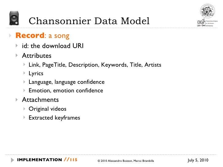 Chansonnier Data Model <ul><li>Record : a song </li></ul><ul><ul><li>id: the download URI </li></ul></ul><ul><ul><li>Attri...