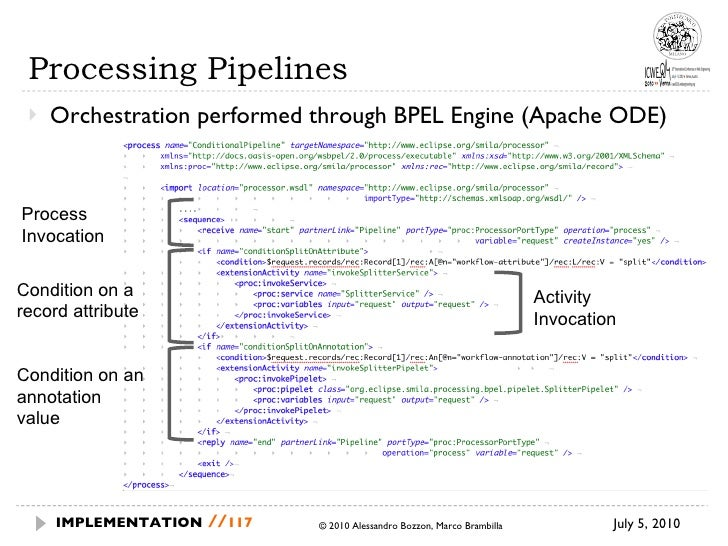 Processing Pipelines <ul><li>Orchestration performed through BPEL Engine (Apache ODE) </li></ul>July 5, 2010  © 2010 Aless...