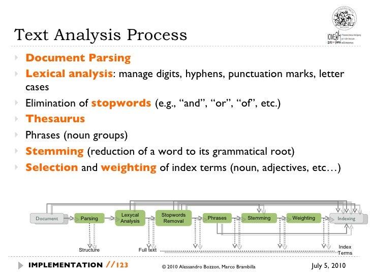 Text Analysis Process <ul><li>Document Parsing </li></ul><ul><li>Lexical analysis : manage digits, hyphens, punctuation ma...