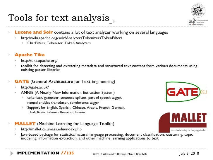 Tools for text analysis _1 <ul><li>Lucene and Solr   contains a lot of text analyzer working on several languages </li></u...