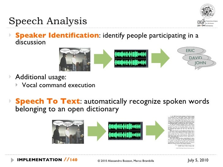 Speech Analysis <ul><li>Speaker Identification : identify people participating in a discussion </li></ul><ul><li>Additiona...