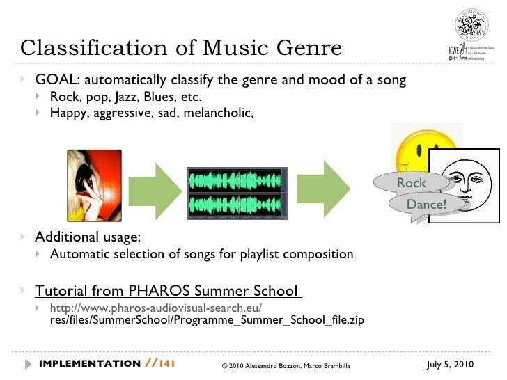 Classification of Music Genre <ul><li>GOAL: automatically classify the genre and mood of a song </li></ul><ul><ul><li>Rock...