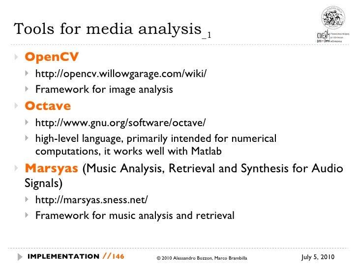 Tools for media analysis _1 <ul><li>OpenCV </li></ul><ul><ul><li>http://opencv.willowgarage.com/wiki/ </li></ul></ul><ul><...