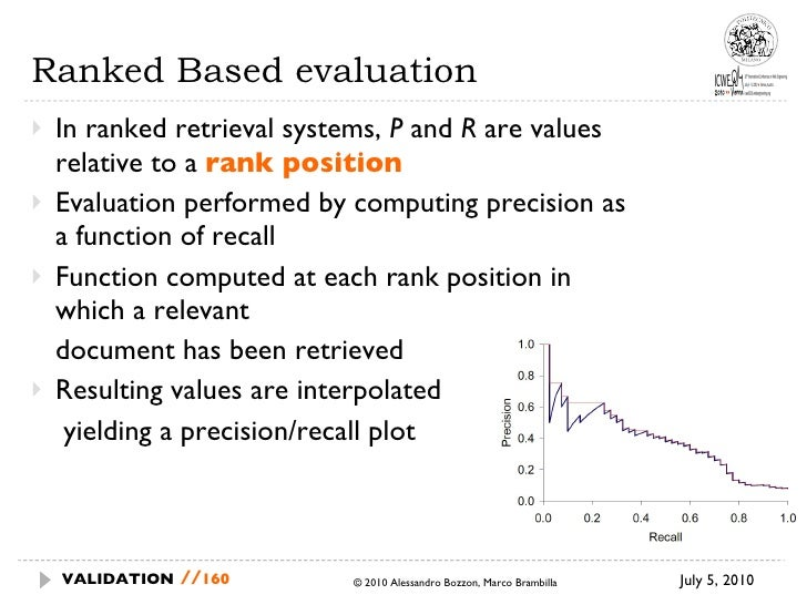 Ranked Based evaluation <ul><li>In ranked retrieval systems,  P  and  R  are values relative to a  rank position </li></ul...