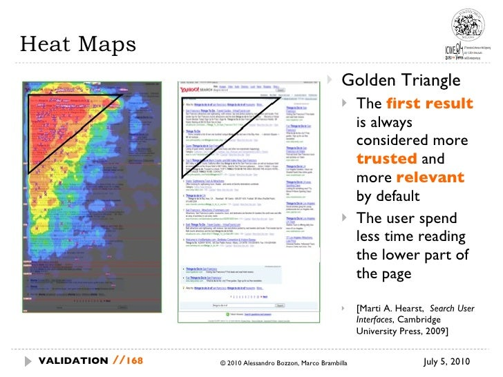 Heat Maps <ul><li>Golden Triangle </li></ul><ul><ul><li>The  first result   is always considered more  trusted   and more ...