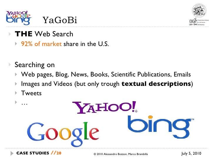 YaGoBi <ul><li>THE  Web Search </li></ul><ul><ul><li>92% of market  share in the U.S. </li></ul></ul><ul><li>Searching on ...