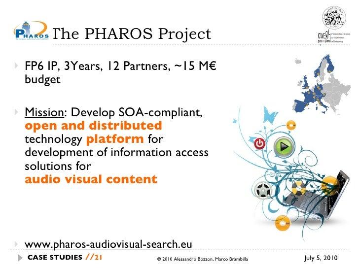 The PHAROS Project <ul><li>FP6 IP, 3Years, 12 Partners, ~15 M€ budget </li></ul><ul><li>Mission : Develop SOA-compliant,  ...