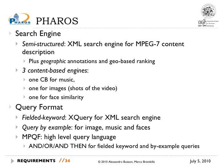 PHAROS <ul><li>Search Engine </li></ul><ul><ul><li>Semi-structured : XML search engine for MPEG-7 content description </li...