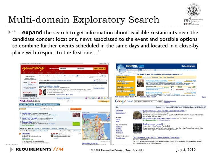 """Multi-domain Exploratory Search <ul><li>""""…  expand  the search to get information about available restaurants near the can..."""