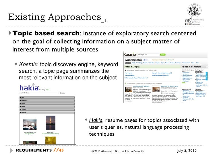 Existing Approaches _1 <ul><li>Topic based search : instance of exploratory search centered on the goal of collecting info...
