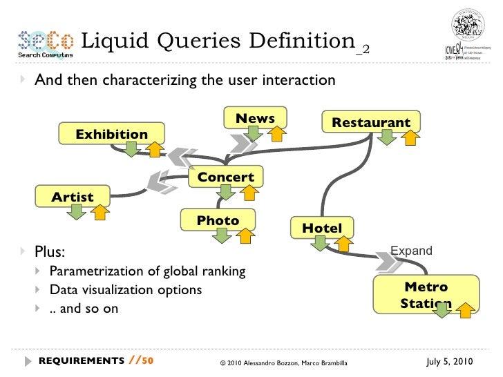 Liquid Queries Definition _2 <ul><li>And then characterizing the user interaction </li></ul><ul><li>Plus: </li></ul><ul><u...