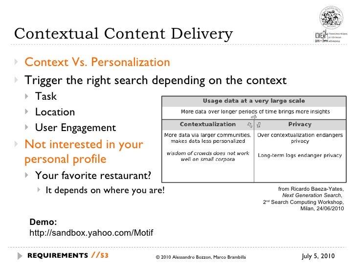 Contextual Content Delivery <ul><li>Context Vs. Personalization </li></ul><ul><li>Trigger the right search depending on th...