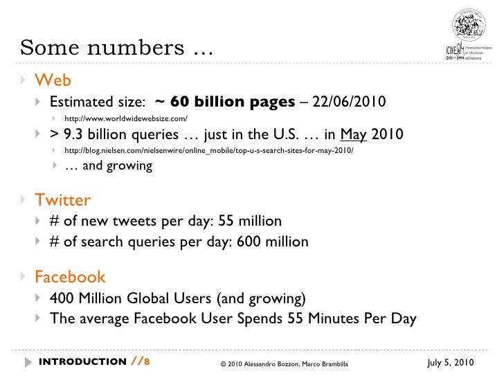 Some numbers … <ul><li>Web </li></ul><ul><ul><li>Estimated size:  ~ 60 billion pages  – 22/06/2010 </li></ul></ul><ul><ul>...