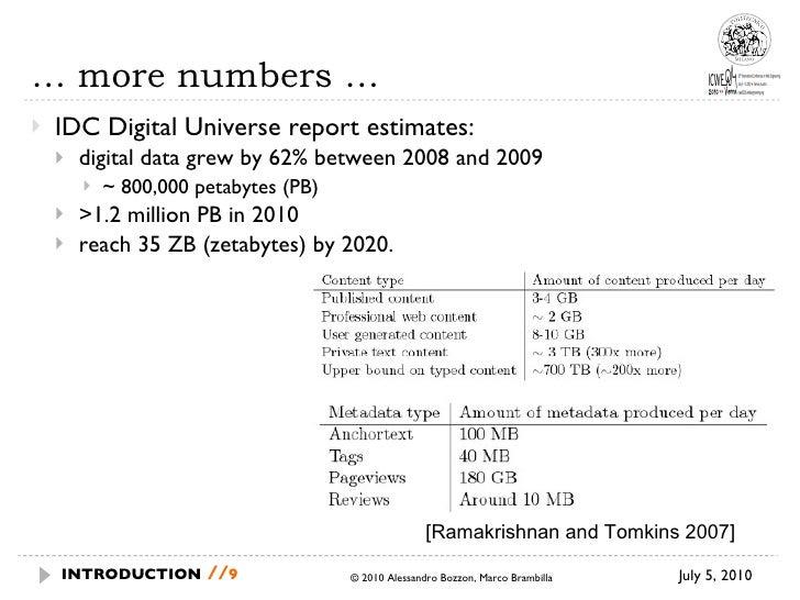 …  more numbers … <ul><li>IDC Digital Universe report estimates: </li></ul><ul><ul><li>digital data grew by 62% between 20...