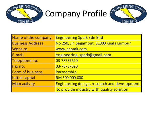 business plan. Engineering spark slide