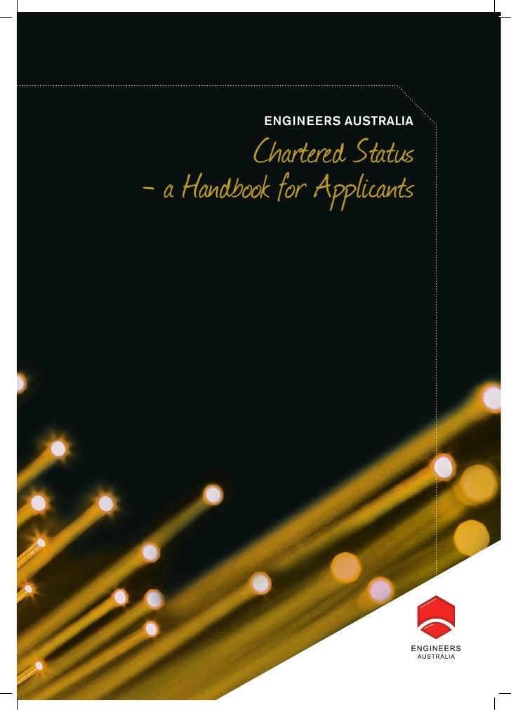 ENGINEERS AUSTRALIA          Chartered Status- a Handbook for Applicants