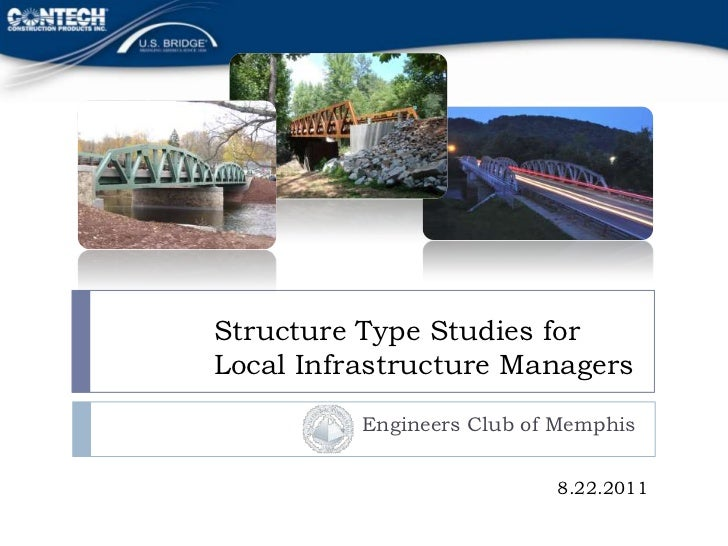 Structure Type Studies forLocal Infrastructure Managers          Engineers Club of Memphis                           8.22....