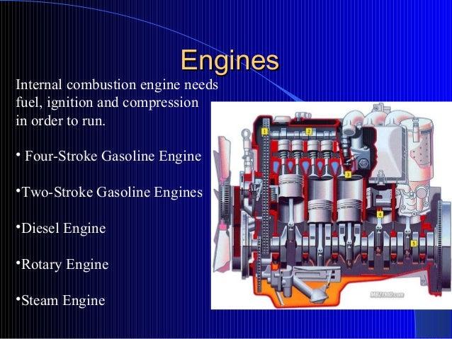 EnginesEngines • Four-Stroke Gasoline Engine •Two-Stroke Gasoline Engines •Diesel Engine •Rotary Engine •Steam Engine Inte...