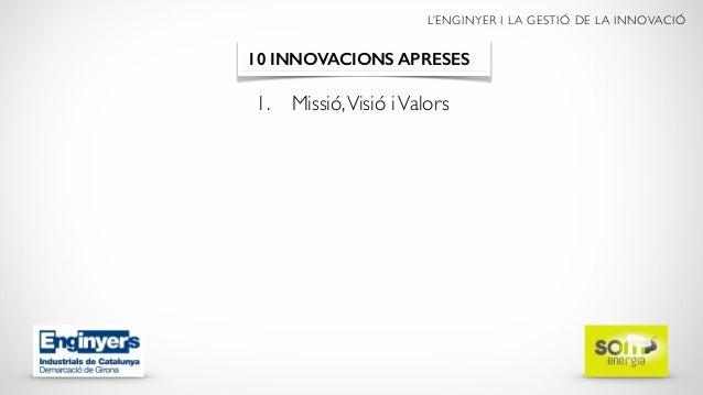 L'ENGINYER I LA GESTIÓ DE LA INNOVACIÓ 1. Missió,Visió iValors 10 INNOVACIONS APRESES