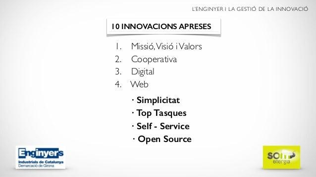 L'ENGINYER I LA GESTIÓ DE LA INNOVACIÓ 1. Missió,Visió iValors 2. Cooperativa 3. Digital 4. Web 10 INNOVACIONS APRESES  ...