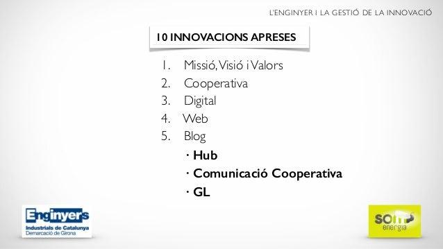 L'ENGINYER I LA GESTIÓ DE LA INNOVACIÓ 1. Missió,Visió iValors 2. Cooperativa 3. Digital 4. Web 5. Blog 6. Xarxes 10 INNOV...