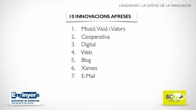 L'ENGINYER I LA GESTIÓ DE LA INNOVACIÓ 1. Missió,Visió iValors 2. Cooperativa 3. Digital 4. Web 5. Blog 6. Xarxes 7. E-Mai...