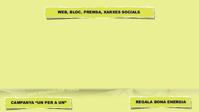 """WEB, BLOC, PREMSA, XARXES SOCIALS CAMPANYA """"UN PER A UN"""" REGALA BONA ENERGIA"""