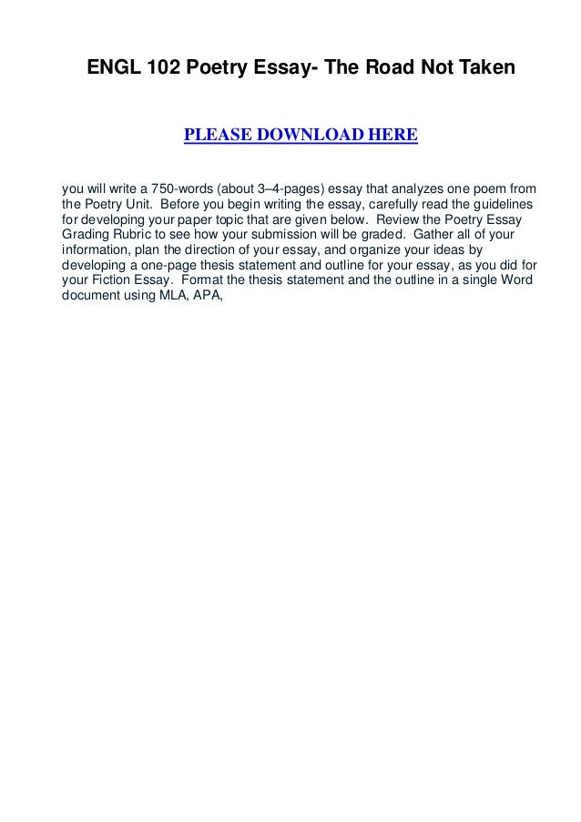High School Essay Sample Engl  Poetry Essay The Road Not Taken Please Download Hereyou Will  Write A  English Sample Essays also Thesis Of An Essay Engl  Poetry Essay The Road Not Taken Essay On English Language