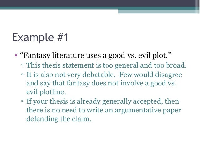 Good vs evil thesis statement