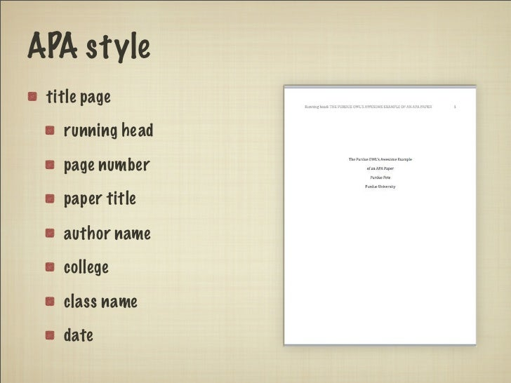 What does a title page look like in apa format 10