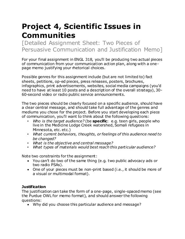 Assignment Sheet Two Pieces Of Communication And Justification Memo