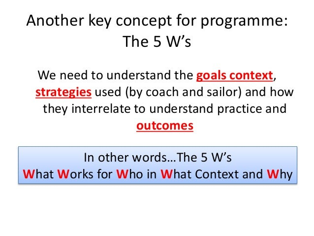 Another key concept for programme: The 5 W's We need to understand the goals context, strategies used (by coach and sailor...
