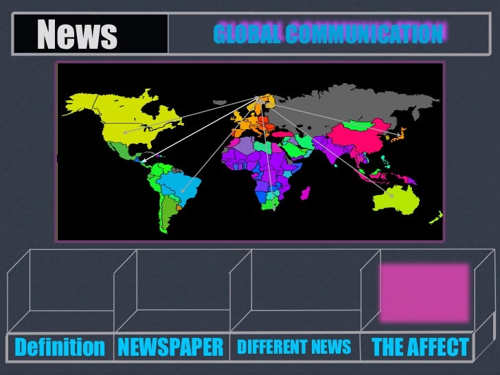 News            GLOBAL COMMUNICATIONDefinition NEWSPAPER   DIFFERENT NEWS   THE AFFECT